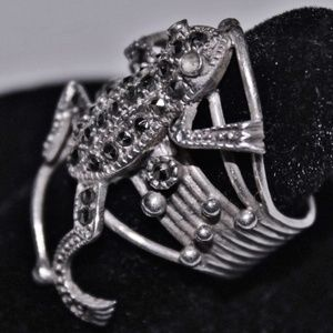 Heavy Ornate Sterling Silver Marcasite Frog Ring